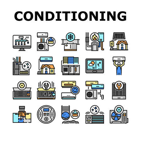 Conditioning System Electronics Icons Set Vector. Conditioning System Repair And Purification Service, Maintenance And Filtration, Installation And Replacement Line. Color Illustrations