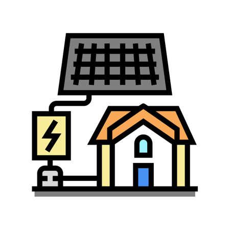 solar electricity installation color icon vector. solar electricity installation sign. isolated symbol illustration