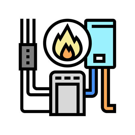 heating system color icon vector. heating system sign. isolated symbol illustration