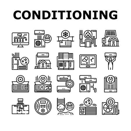 Conditioning System Electronics Icons Set Vector. Conditioning System Repair And Purification Service, Maintenance And Filtration, Installation And Replacement Black Contour Illustrations Vecteurs