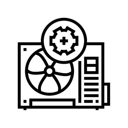 conditioner block working process line icon vector. conditioner block working process sign. isolated contour symbol black illustration Vecteurs