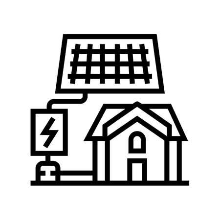 solar electricity installation line icon vector. solar electricity installation sign. isolated contour symbol black illustration Vecteurs