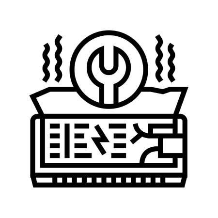 air conditioning repair line icon vector. air conditioning repair sign. isolated contour symbol black illustration