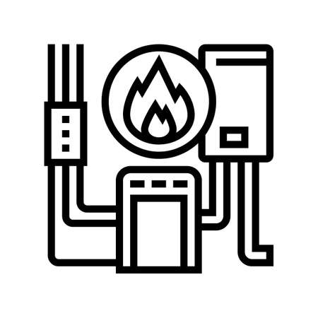 heating system line icon vector. heating system sign. isolated contour symbol black illustration