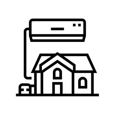 residential conditioning system line icon vector. residential conditioning system sign. isolated contour symbol black illustration