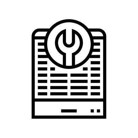 heat pump repair line icon vector. heat pump repair sign. isolated contour symbol black illustration