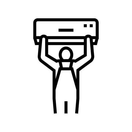 air conditioning installation line icon vector. air conditioning installation sign. isolated contour symbol black illustration