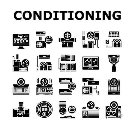 Conditioning System Electronics Icons Set Vector. Conditioning System Repair And Purification Service, Maintenance And Filtration, Installation And Replacement Glyph Pictograms Black Illustrations Vecteurs