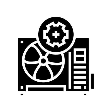 conditioner block working process glyph icon vector. conditioner block working process sign. isolated contour symbol black illustration Vecteurs