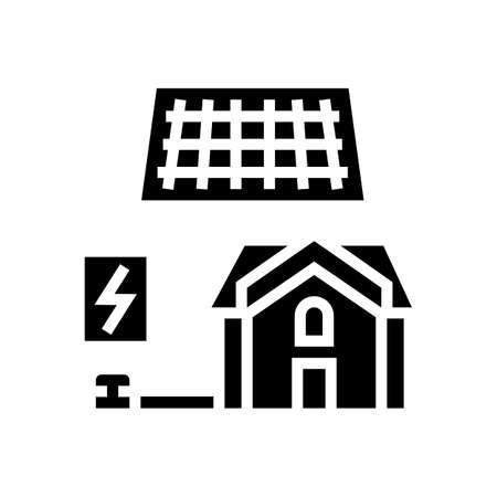 solar electricity installation glyph icon vector. solar electricity installation sign. isolated contour symbol black illustration