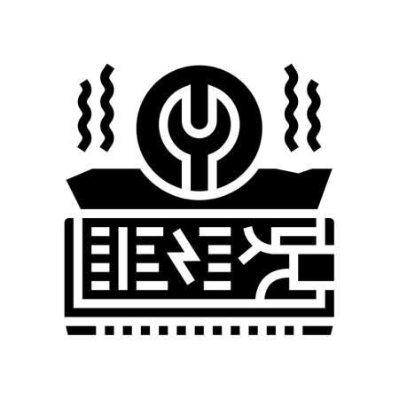 air conditioning repair glyph icon vector. air conditioning repair sign. isolated contour symbol black illustration