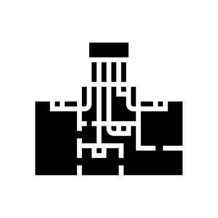 zoned heating cooling systems glyph icon vector. zoned heating cooling systems sign. isolated contour symbol black illustration Vecteurs