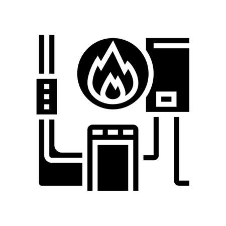 heating system glyph icon vector. heating system sign. isolated contour symbol black illustration Vecteurs