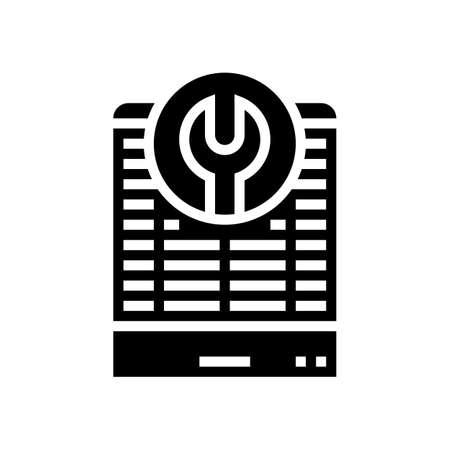 heat pump repair glyph icon vector. heat pump repair sign. isolated contour symbol black illustration