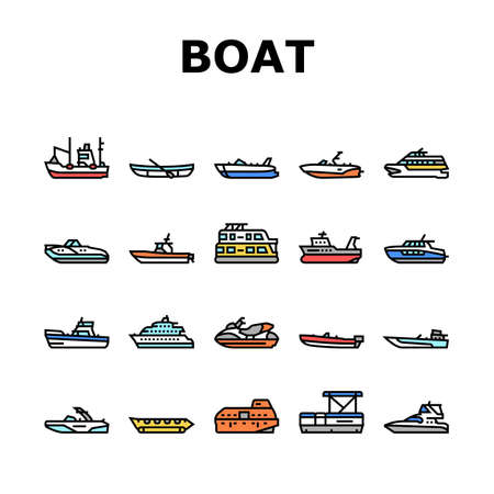 Boat Water Transportation Types Icons Set Vector. Runabout And Catamaran, Fishing And Bowrider, Motor Yacht And Cabin Cruiser Boat Line. Ship And Motorboat Transport Color Illustrations Vecteurs