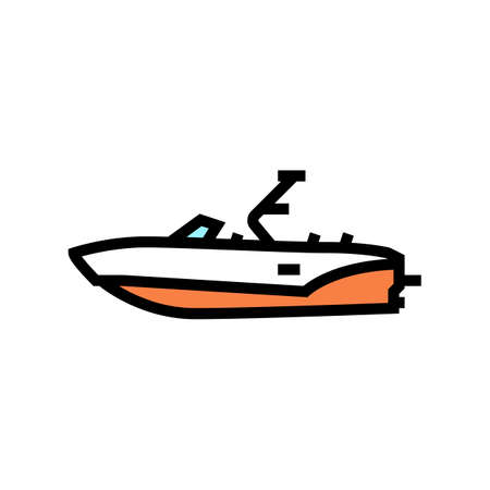 bowrider boat color icon vector. bowrider boat sign. isolated symbol illustration Vecteurs