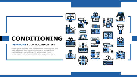 Conditioning System Electronics Landing Web Page Header Banner Template Vector. Conditioning System Repair And Purification Service, Maintenance And Filtration, Installation Replacement Illustration Vecteurs