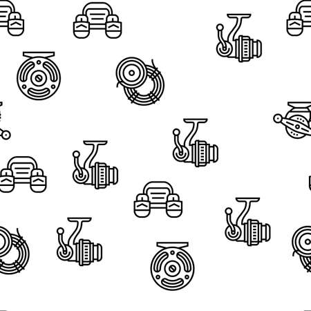 Fishing Shop Products Vector Seamless Pattern Thin Line Illustration Vecteurs