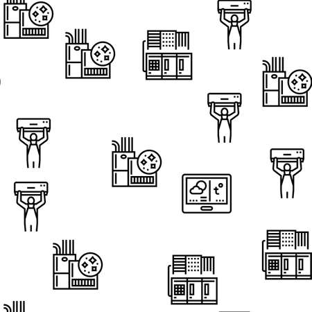 Conditioning System Electronics Vector Seamless Pattern Thin Line Illustration