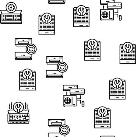 Conditioning System Electronics Vector Seamless Pattern Thin Line Illustration Vecteurs