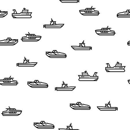 Boat Water Transportation Types Vector Seamless Pattern Thin Line Illustration