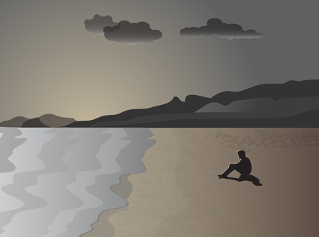 sea shore: The man on the shore of the sea in meditation  Vector illustration