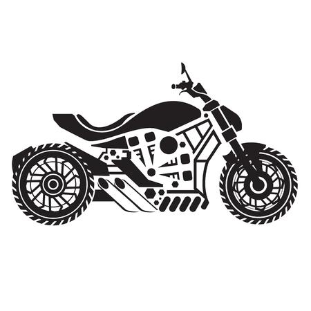 cruiser: Motorcycle Black simplified cruiser Illustration
