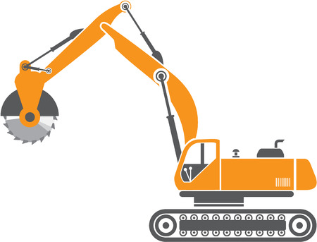 Stump and Stone Cutter Excavator Illustration