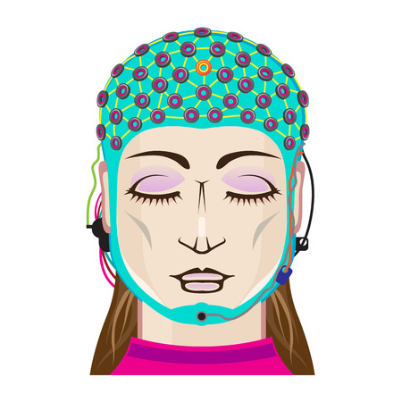 EEG device Mind reading scanning Brain signals Female Illustration