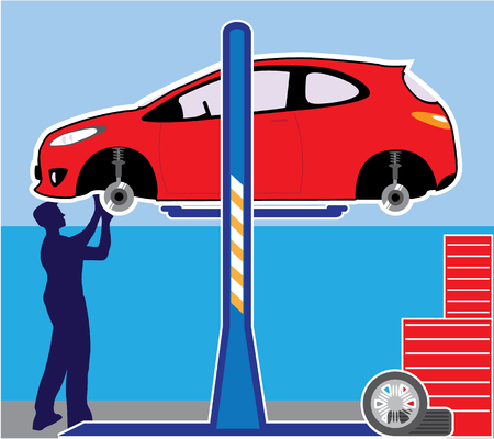 impact wrench: Repair shop Car on the lift mechanic working vector image