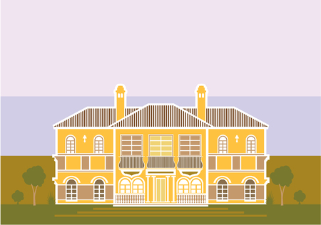 Mansion yellow vintage house vector illustration