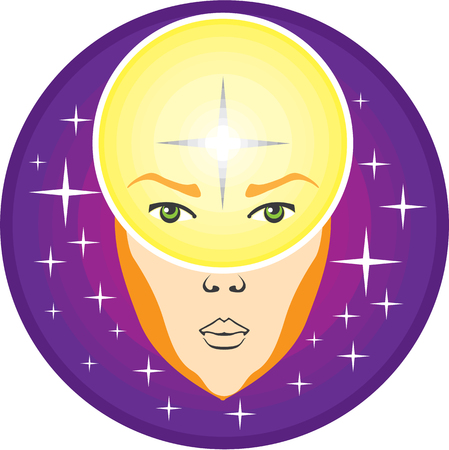 psychic: Human psychic ablities invisible light illustration clip-art