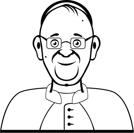 catholicism: Pope cartoon vector illustraiton clip-art image Illustration