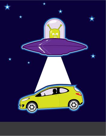 unexplained: Car abduction vector Alien illustration clip-art image