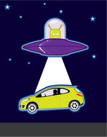 area 51: Car abduction vector Alien illustration clip-art image