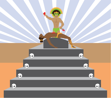 Aztec Sacrifice vector illustration clip-art image
