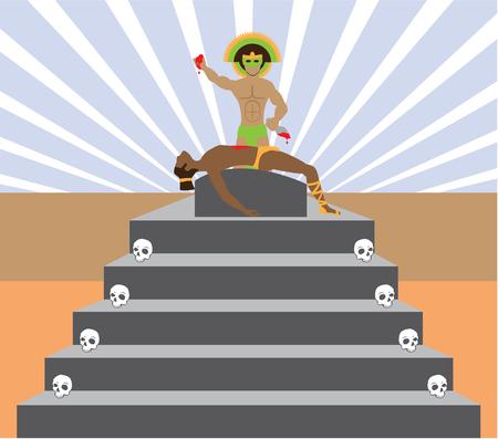 Aztec Sacrifice vector illustration clip-art image