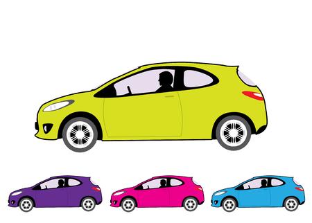 Small economy car vector illustration clip-art image