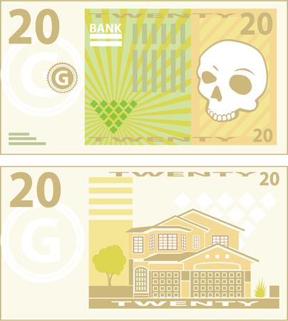 Fake money bill vector illustration clip-art image