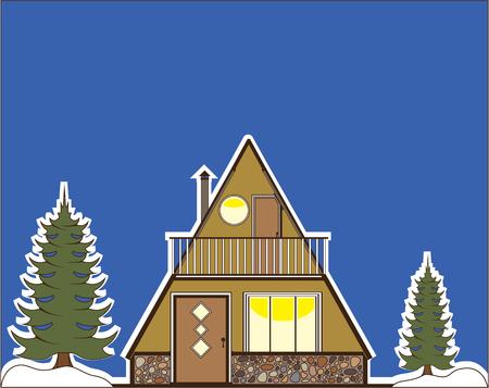 A Frame house vector illustration clip-art image Ilustração