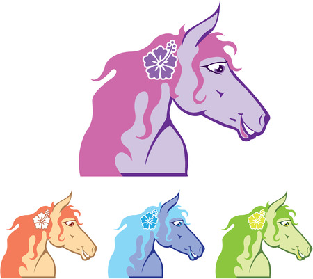 Horse with a flower vector illustration clip-art image