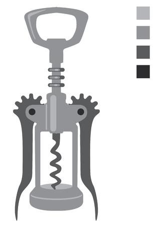 uncork: Cork screw vector illustration clip-art image Illustration