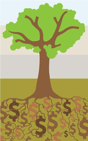Dollar ground vector illustration clip-art image Illustration