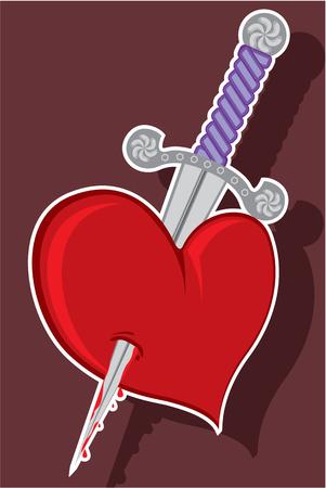 to pierce: Knife in heart vector illustration clip-art image Illustration
