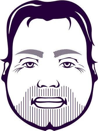 unshaven: Punk face vector illustration clip-art image
