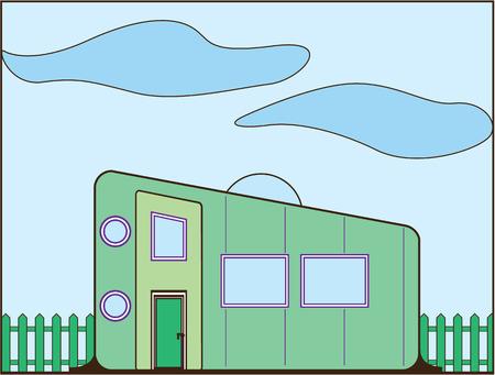 double entry: Trailer house vector illustration clip-art image
