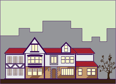 Ouderwetse huis vector illustratie clip-art afbeelding Stock Illustratie
