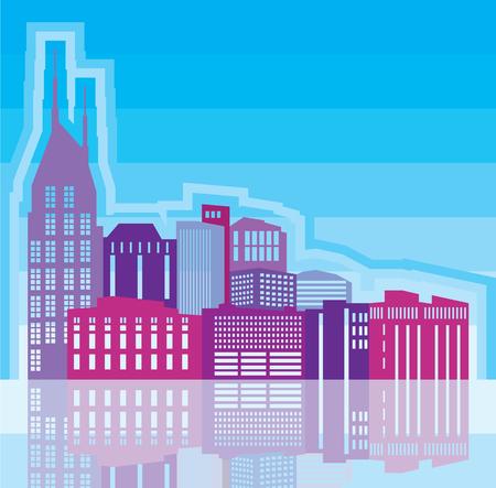 Cityscape vector illustration clip-art image  イラスト・ベクター素材