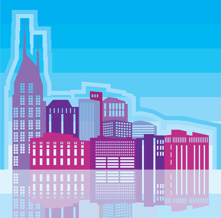 reflection of life: Cityscape vector illustration clip-art image Illustration