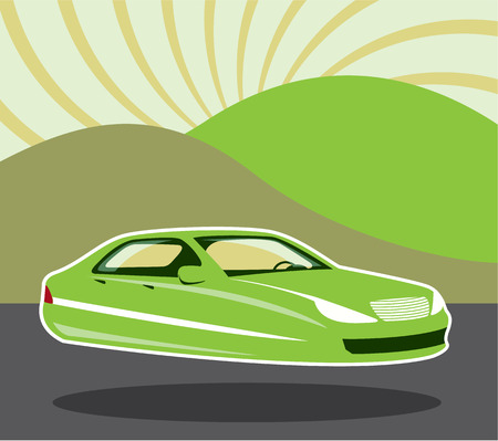 Futuristic flying car vector illustration clip-art